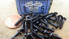 "25 x NETTLEFOLDS GKN 5/8"" x 5  BLACK JAPANNED ROUND HEAD WOOD SCREWS SLOTTED"