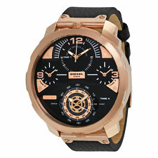 NEW MENS DIESEL (DZ7380) ROSE GOLD MACHINUS BLACK LEATHER STRAP WATCH