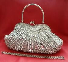 Silver Sequin Evening Handbag Beads Clutch Purse Party Wedding Prom Eid Bride