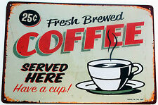RETRO FRESCO BREWED café METAL LATA LETREROS vintage café bar pub decoración