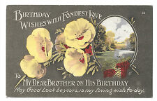 "Vintage ""Birthday Wishes With Fondest Love, To My Brother"" Card, Early 20th c"