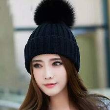 100% Real Fox Fur pompom Beanie winter hat and wool Blend Hat fur Pom Pom Ball