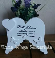 Free Standing Angel wings & butterfly plaque Rememberence/grave marker/wedding