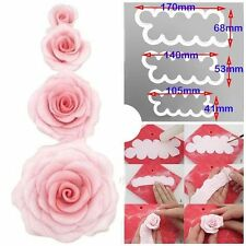 3pcs Set 3D Rose Petal Flower Cutter Fondant Cake Sugarcraft Decorating Mould