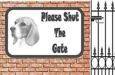 Beagle Shut The Gate Beware of the Dog  Design Metal Door Sign