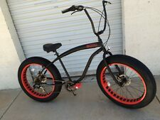 Sikk??Fat Tire Beach Cruiser Bike ??Flat Black w Red Rim-NEW 7 SPEED-CUTOUT RIMS