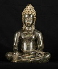 Antique Thai Style Bronze Seated Buddha Statue Enlightenment - 31cm/12""