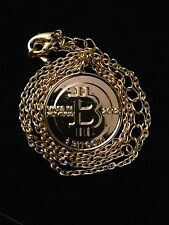 BITCOIN 24 Karat Gold Plated GP Necklace Jewerly Casascius Lealana Titan BTC LTC