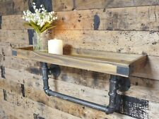 Wooden Wall-Mounted Tray Shelf with Pipework Brackets Urban Industrial Style