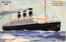 "Red Star Line Triple-Screw ""Belgenland"" Steam Ship Poster Type Postcard"