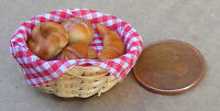 1:12 Scale 4 Different Bakery Items In A Basket Dolls House Miniature Bread