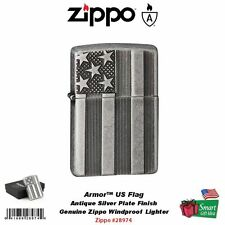 Zippo Armor US Flag Lighter, Antique Silver Plate, Windproof #28974