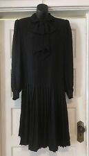 Vintage ANDRE LAUG Silk SCHOOL GIRL GOTH Couture Dress Big Bow Saks Fifth Ave 12