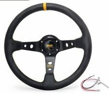"OMP Yellow 350mm 3"" Deep Dish PVC Racing Steering Wheel Sport Drift Race"