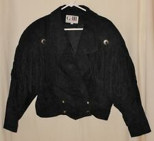Vtg 80's Women's Fringe Jacket Black Suede Leather Rocker Chic Deep V  Medium