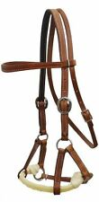 Soft Brown Cow Leather Western Sidepull Headstall Bitless Bridle Rope Nose