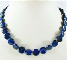 12mm Natural Egyptian Lapis Lazuli Gemstones Coin Beads Jewelry Necklace 18""