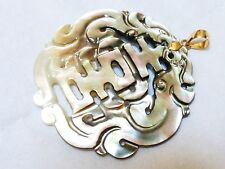 CHINESE VINTAGE CARVED Mother of Pearl PENDANT, 14k gold, marked
