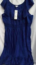 Autograph BLUE ink gypsy boho shirred waist 26 Sun Dress off shoulder option NEW
