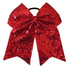 "NEW ""FANCY SEQUIN Red"" Cheer Bow Pony Tail 3"" Ribbon Girls Hair Bow Cheerleading"