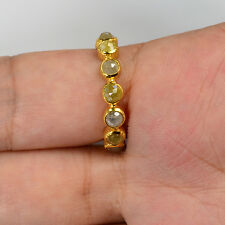 18k Solid Yellow Gold Rose Cut Rustic Fancy Color Diamond Eternity Ring Size7.25