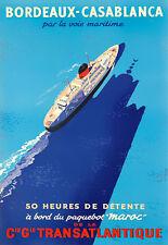 Bordeaux Casablanca de la CIE gle Transatlantique nave viajar cartel impresión