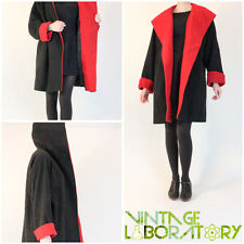 vintage ANNE KLEIN red black hooded wool coat sz Medium M 1980s 80s vtg robe
