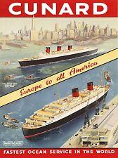 TRAVEL TRANSPORT OCEAN LINER SHIP CITY EUROPE AMERICA DOCK USA POSTER LV4409