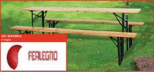 SET BIRRERIA IN LEGNO TAVOLO E PANCHE PIEGHEVOLI 220X60X76h GIARDINO ART.3792