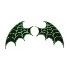 Set of 2 Green Web Bat-Wing Patches Kreepsville Craft Apparel Iron-On Applique