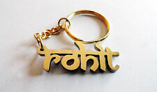 Personalized Keychain with your name handcarved Old Devanagari font golden color