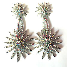 Butler and Wilson Clear AB Crystal Starburst Drop Earrings NEW