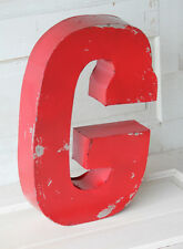"""20"""" Industrial Rustic Block Letter G Sign, Red, Recycled Metal Letter"""