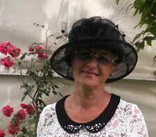Damenhut in Schwarz Anlasshut Damenhüte Anlasshüte Strohhüte Trauer  Ascot