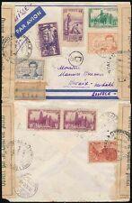 Francés Costa de Marfil 1942 regist.airmail Multi el franqueo a Suiza.. Cinta + 5 censores