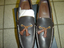 NEW MENS TOMMY HILFIGER BROWN LEATHER SLIP ON TASSEL SHOES SIZE 11 M  $110