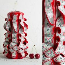 Big Red and White - Passionate colors - Decorative carved candle - EveCandles