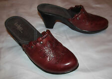 INDIGO BY CLARKS burgundy brown embossed tooled leather clogs slides mukes shoes