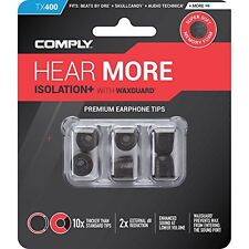 Comply Tx-400 Isolation PLUS Earphone Tips With Wax Guard Medium Black 3 pairs