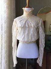 Edwardian Blouse French Net Tambour Lace High Collar 1800s 1900s Silk Lined
