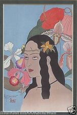 A Beauty of Palau 1935 ~  PAUL JACOULET~Matted Japanese Woodblock Art