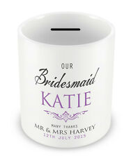 Personalised BRIDESMAID Money Box Thank you Gift idea Wedding present party