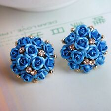 1Pair Women Girls Elegant Rose Flower Crystal Rhinestone Ear Stud Earring New