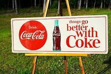 "VINTAGE COCA COLA ""THINGS GO BETTER WITH COKE"" SODA DRINK BUTTON SIGN BEAUTIFUL!"