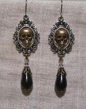 SILVER BRASS SKULL BLACK GLASS TEAR DROP EARRINGS VICTORIAN HALLOWEEN GOTHIC