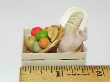 Dollhouse Miniature Bread Fruits and Clay Vase in Wooden Crate Food Market