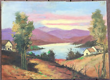 Impressionist Oil Painting Landscape Lake Scene Mystery Artist Greek Signed 1955