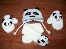 Set of 3 Panda Hat, Scarf & Mittens For Boys/Girls, size 7-8, Pre-owned