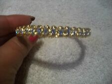 NOLAN MILLER Bracelet BANGLE Clear Austrian Crystals Goldtone Hinged NIB