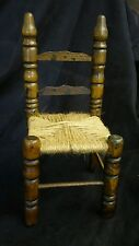 Doll Bear Sized Wood Chair with Woven Twine Seat Decorative